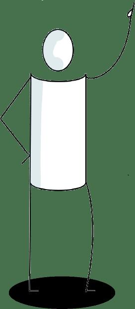 Personnage Akyz qui montre un nuage de mots