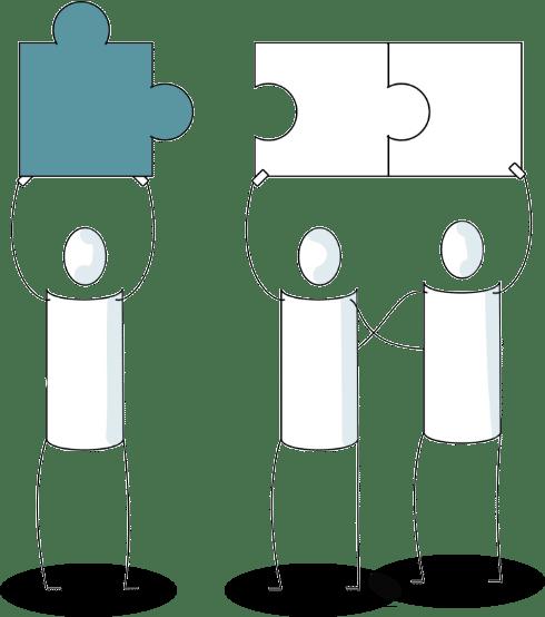 3 personnages dessinés en train de faire un puzzle